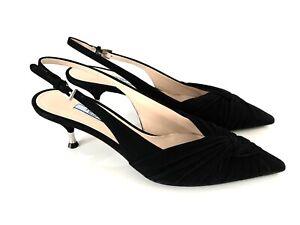 PRADA Damen Schuhe Pumps Schwarz Slingbacks Kitten Heels Suede Black Eu 39,5 Neu