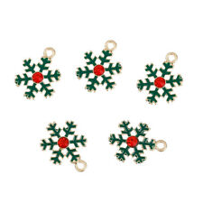 5 Green Christmas Snowflake Enameled Gold Tone With Red Rhinestone J81047p