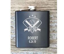 Personalized Best Man Baseball Inspired Flask Great Groomsmen Usher Gift