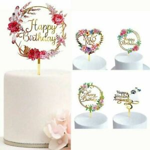 Acrylic Cake Topper Happy Birthday Cake Toppers Baby Shower Party Cupcake Topper