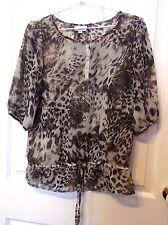 Millers Ladies ANIMAL PRINT BLOUSE 3/4 sleeve size 12 Round Neckline