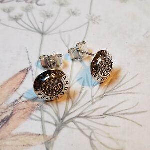 Authentic PANDORA SIGNATURE Stud Earrings #290559CZ S925 ALE