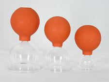 Schröpfglas Schröpfgläser 3 Stück im Set 25 45 65 mm mit Saugball zum Schröpfen