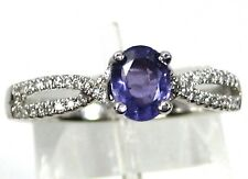 Purple Sapphire Ring Cross Over 14K White gold Solitaire Unique Heirloom $1,965
