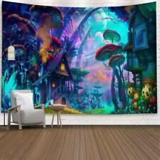 Tapestry Wall Hanging Psychedelic Forest Mushroom House Cover Hippie Home Decors