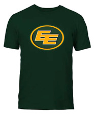 Men's Edmonton Eskimos Green Primary Logo CFL Football 100% Cotton T Shirt