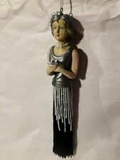 Elegant Woman Christmas Ornament with Beaded and Fringe Dress