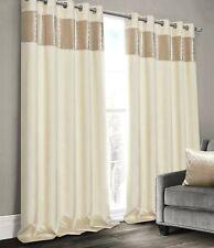 Luxury Faux Silk Velvet Sparkle Honeycomb Ringtop Eyelet Curtain Pair Silver
