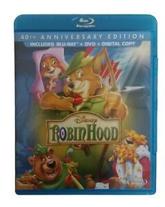 Disney Robinhood 40th Anniversary Edition 2 Disc Blu Ry DVD PERFECT Condition