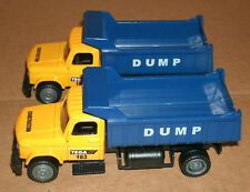 Two 1/55 Scale Dump Truck Diecast Model Toys - Heavy Duty Construction Equipment