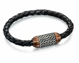 Fred Bennett Bracelet Black Leather Brown Chain Detail Bracelet B4686 RRP £60
