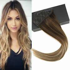 Sunny Invisible Halo Wire Human Hair Extensions Balayage Brown & Blonde 4/6/22#