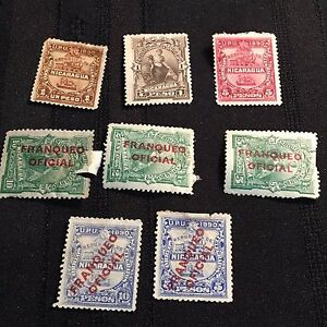 1890-91 Nicaragua Postage Stamps Lot of 8 Unused, Over Printed