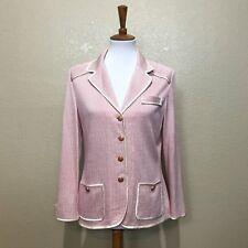 St. John Collection Pink Candy Stripe Knit Fashion Fit Blazer Jacket Size 8