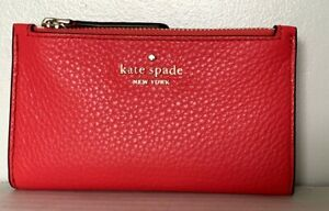 New Kate Spade Leighton small Slim Bifold wallet Leather Digital Red