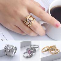 3x Paar Gold Versilbert Schmuck Engagement Zirkon Kristall Strass Ring Sets NEU