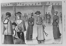 Old PRINT roller skating Mesdames OLYMPIA patinoire c1900 Costume Antique sportif