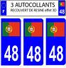 3 pegatinas matrícula de coche CON RELIEVE 3D RESINA BANDERA PORTUGAL Nº 48
