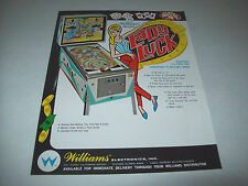 Williams LADY LUCK ORIGINAL 1968 Pinball Machine Promo Sales Flyer Advertising