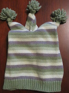 Gymboree Boys Green Striped Knit Winter Hat 0-3 months Reborn EUC