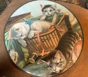 """FLUE COVER LOT #58 Sewing Basket with Four Kittens Large 11"""""""