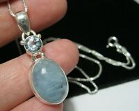 Beautiful Sterling Silver 11.17cts Natural Aquamarine Gem Stone Pendant Necklace