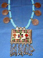 "Necklace Medallion Coin Afghan Tribal Kuchi Alpaca Silver 22"""