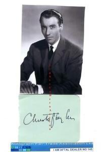 Sir Christopher Lee vintage signed page, AFTAL#145