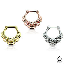 Surgical Steel Anodized - Sold Each Septum Clicker 16G Tribal Pattern Design