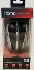 iHome Linea Computer Classic Corded Optical Mouse - Black Silver Mac or PC