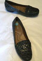 "Naturalizer Women's Shoes Gray Faux Croc Patent Loafer 1"" Heel Size 9M"