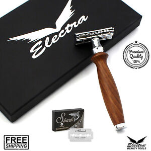Long Silver Mens Safety Razor Double Edge Razors 10 Free Blades & Pouch travel