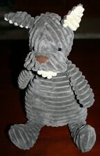 "Htf 15"" Jellycat Cordy Roy Grey Dog (French Bulldog) From Birth Plush Ribbed"