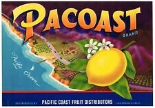 GENUINE PACOAST LEMON CRATE LABEL PCH PACIFIC COAST HIGHWAY C1950 MODERNISM