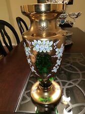 Bohemian Style Vase With Enamel Flowers