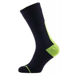 SealSkinz Cycling Thin Mid Hydrostop Socks Black/Yellow