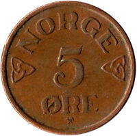 1956 Norway 5 Ore Norge / Bronze Coin Collectible   #WT1594