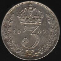 1907 Edward VII Silver Threepence Coin | British Coins | Pennies2Pounds