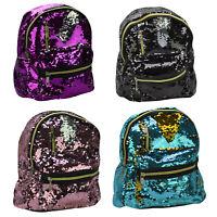 Mini Rucksack für Damen und Kinder Mädchen Wende Pailletten glitzer Tasche