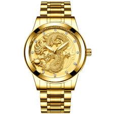 FNGEEN Mens Gold Dragon Sculpture Quartz Watch Men Steel Wrist Watch Waterproof