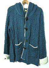 Cabela's Deer Lodge Hooded Cardigan Sweater Womens 2XL Fleece Accents Orion Blue