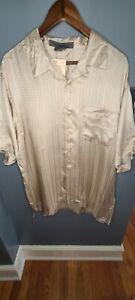 Technique 100% Silk Mens Shirt XL Gold Short Sleeve Sand NWT Pajama Sleep Wear