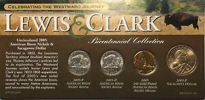 2005 Lewis & Clark Bicentennial Collection Nickels, $1 Sacagawea & $2 Note