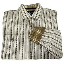 Age Of Wisdom Western Shirt Blue & Brown Floral Stripes Flip Cuffs Mens XL