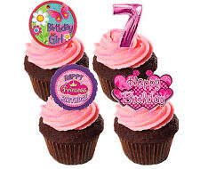 7th Birthday Girl Edible Cup Cake Toppers, Standup Fairy Bun Decorations Pink