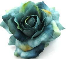 "Large 5"" Variegated Teal Rose Silk Flower Hair Clip, Wedding, Prom, Dance, Prom"