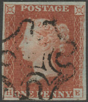 1841 SG8 1d RED BROWN PLATE 25 VERY FINE USED 4 MARGINS NEARLY FULL CROSS (HE)