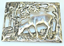 VINTAGE HEAVY STERLING SILVER LARGE PIN OF BUCK DEER IN FOREST 2 3/16 INCH WIDE