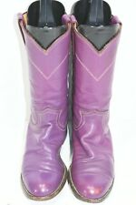VINTAGE JUSTIN 5 B WOMENS PURPLE LEATHER ROUND TOE WESTERN COWBOY BOOTS ROPERS