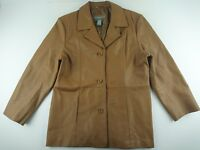 Jessica Holbrook Large L Caramel Brown Leather Jacket Blazer 3 Button Lined